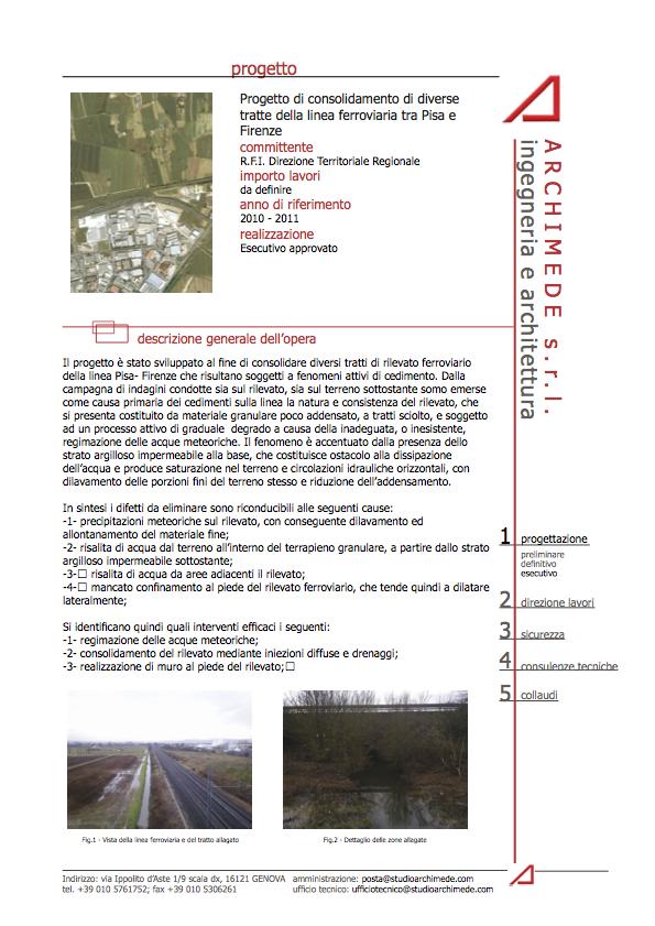 Progetto di consolidamento di diverse tratte della linea ferroviaria tra Pisa e Firenze