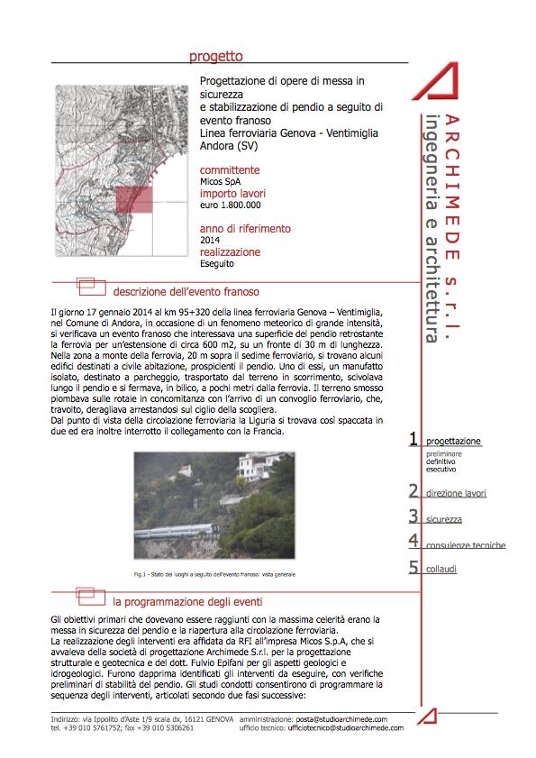 Messa in sicurezza e stabilizzazione pendio Linea ferroviaria Genova – Ventimiglia Andora (SV)