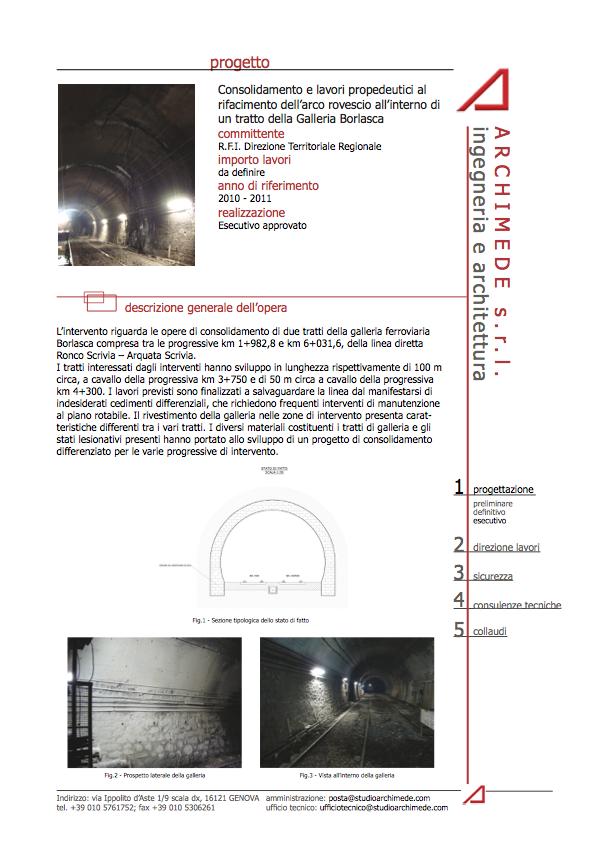 Consolidamento e lavori propedeutici al rifacimento dell'arco rovescio all'interno di un tratto della Galleria Borlasca