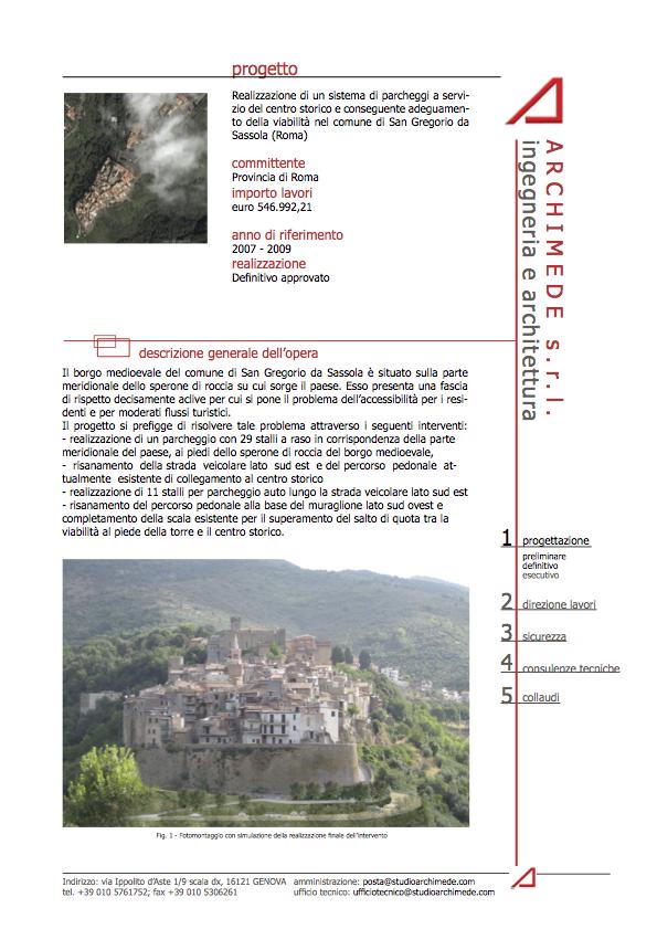 Realizzazione di un sistema di parcheggi a servizio del centro storico e conseguente adeguamento della viabilità nel comune di San Gregorio da Sassola (Roma)