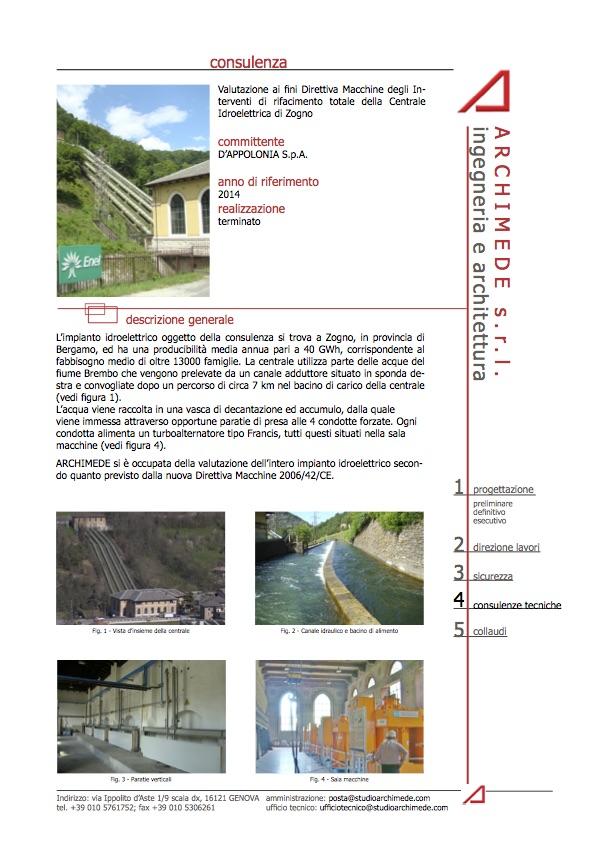 Valutazione ai fini Direttiva Macchine degli Interventi di rifacimento totale della Centrale Idroelettrica di Zogno