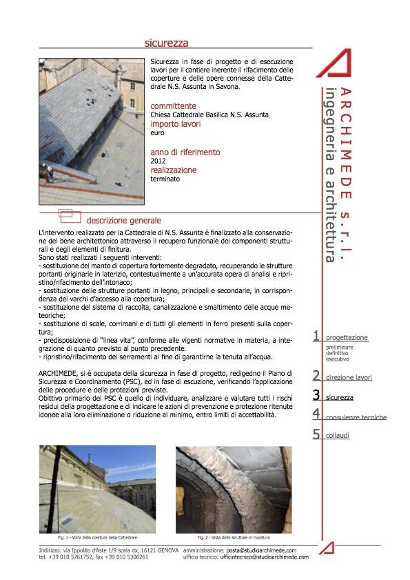 Sicurezza in fase di progetto e di esecuzione lavori per il cantiere inerente il rifacimento delle coperture e delle opere connesse della Cattedrale N.S. Assunta in Savona