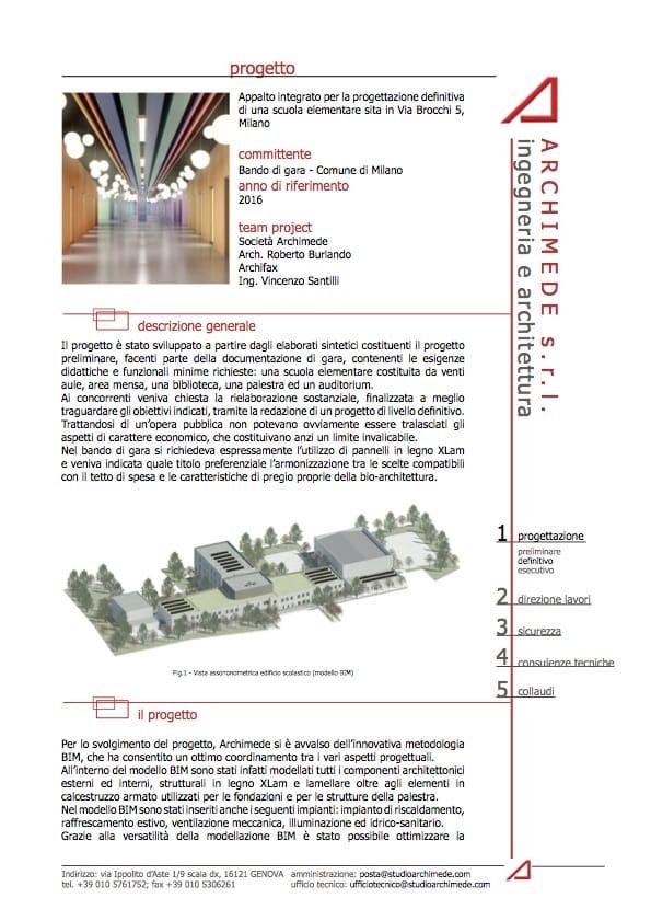 Progetto BIM scuola elementare Milano