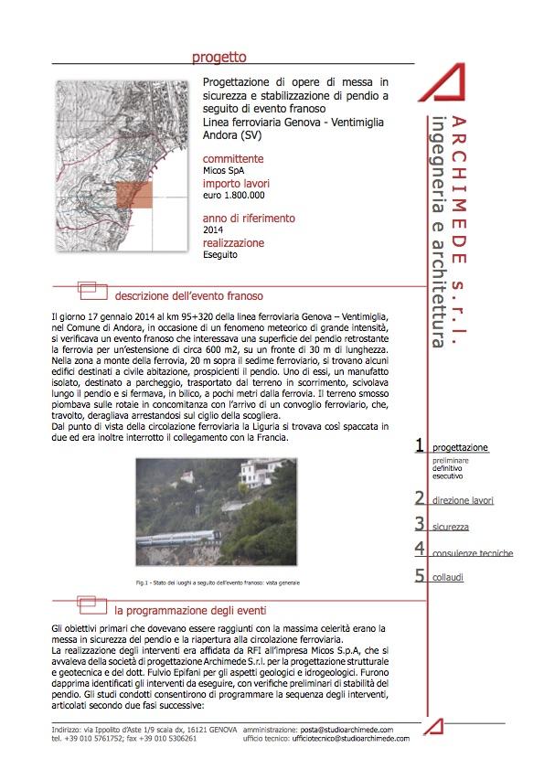 scheda progetto messa in sicurezza linea ferroviaria genova-andora