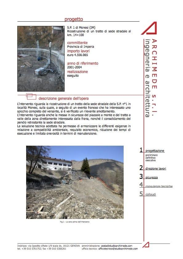 Ricostruzione tratto stradale SP1 Monesi imperia