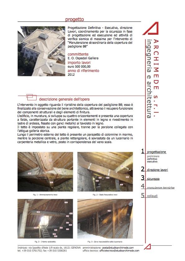 Manutenzione straordinaria della copertura del padiglione B8 Ospedale Galliera