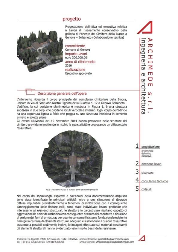 Progetto BIM galleria di Ponente del Cimitero della Biacca, Genova