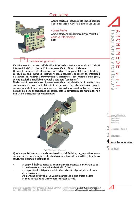 Attività relative a indagine sullo stato di stabilità dell'edificio sito in Genova al civ.8 di Via Vegetti