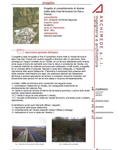 Studio Archimede - Progetto di consolidamento di diverse tratte della linea ferroviaria tra Pisa e Firenze