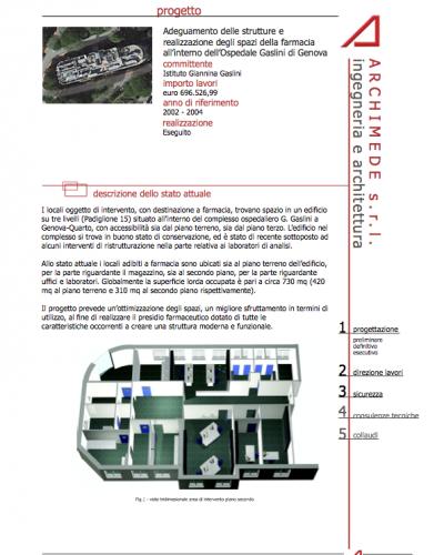Adeguamento delle strutture e realizzazione degli spazi della farmacia all'interno dell'Ospedale Gaslini di Genova