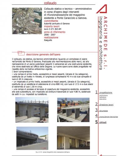 Collaudo statico e tecnico – amministrativo in corso d'opera degli interventi di rifunzionalizzazione del magazzino esistente a Ponte Caracciolo a Genova
