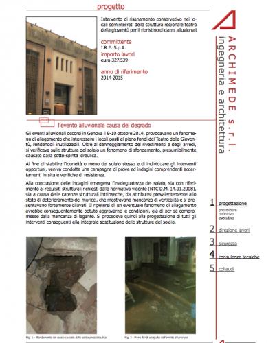Intervento di risanamento conservativo nei lo- cali seminterrati della struttura regionale teatro della gioventù per il ripristino di danni alluvionali