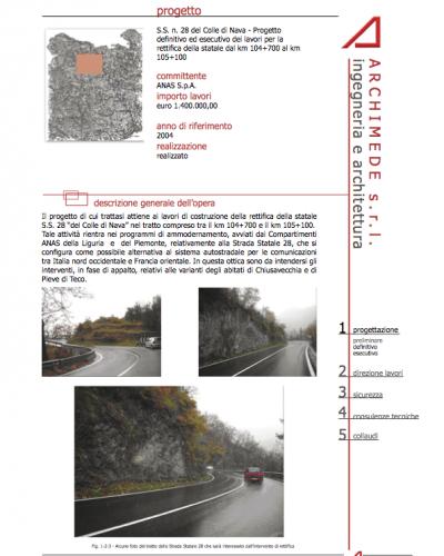 S.S. n. 28 del Colle di Nava - Progetto definitivo ed esecutivo dei lavori per la rettifica della statale dal km 104+700 al km 105+100