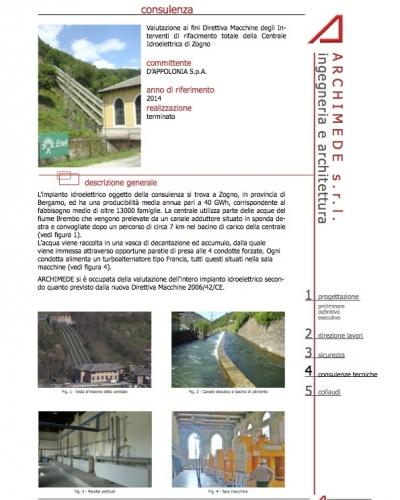 Valutazione ai fini Direttiva Macchine degli In- terventi di rifacimento totale della Centrale Idroelettrica di Zogno